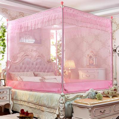 坐床拉链蚊帐      8816甜蜜花园-全底(22#不锈钢) 180*220*175 粉色