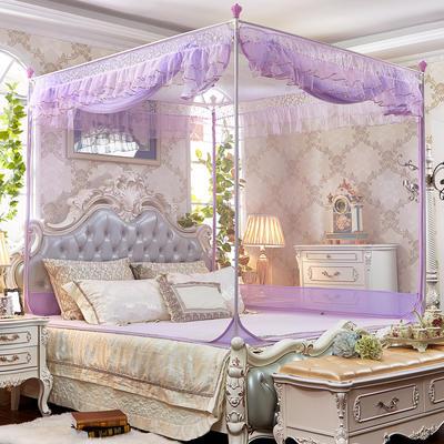 坐床拉链蚊帐      8816甜蜜花园-全底(铁艺) 200*220*175 紫色