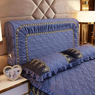 2019新款凯瑟琳--磨毛夹棉单床靠背 1.5m 孔雀蓝