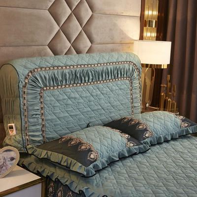 2019新款凯瑟琳--磨毛夹棉单床靠背 1.5m 松石绿