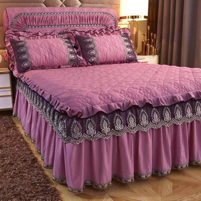 2019新款凯瑟琳--磨毛夹棉单床裙 150cmx200cm 豆沙红
