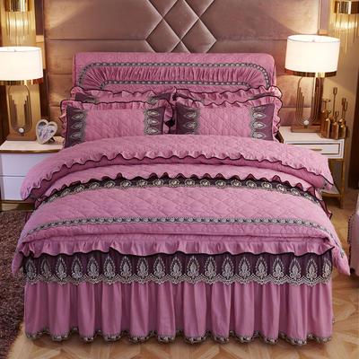 2019新款摩纳歌--水晶绒夹棉床裙四件套 1.5m(床裙款四件套) 豆沙红