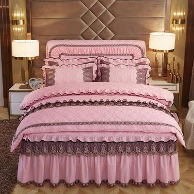 2019新款摩纳歌--水晶绒夹棉床裙四件套 1.5m(床裙款四件套) 芙蓉玉