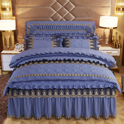 2019新款摩纳歌--水晶绒夹棉床裙四件套 1.5m(床裙款四件套) 孔雀蓝