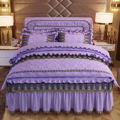2019新款摩纳歌--水晶绒夹棉床裙四件套 1.5m(床裙款四件套) 魅惑紫