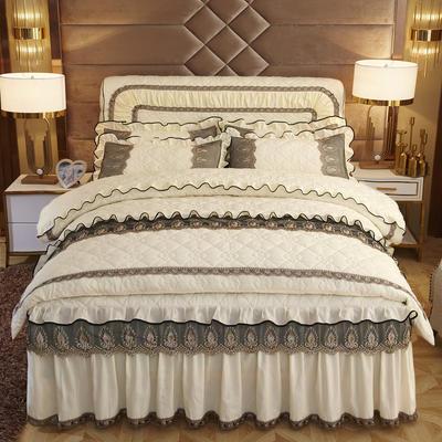 2019新款摩纳歌--水晶绒夹棉床裙四件套 1.5m(床裙款四件套) 奶油黄