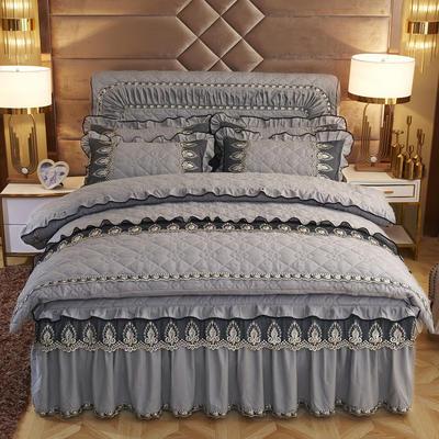 2019新款摩纳歌--水晶绒夹棉床裙四件套 1.5m(床裙款四件套) 雾灰色