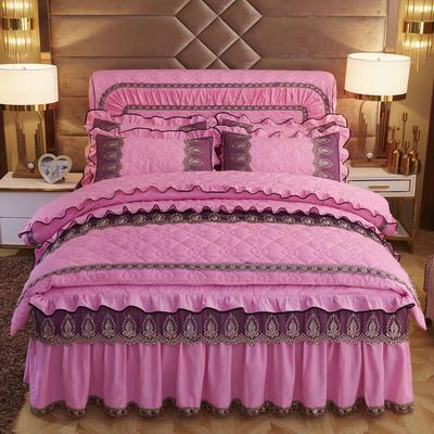 2019新款摩纳歌--水晶绒夹棉床裙四件套 1.5m(床裙款四件套) 胭脂粉