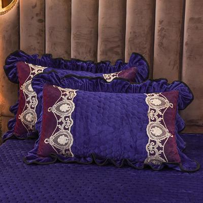 2019新款摩纳歌--水晶绒夹棉单枕套 48cmX74cm(枕套/对) 宝石蓝