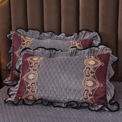 2019新款摩纳歌--水晶绒夹棉单枕套 48cmX74cm(枕套/对) 典雅 灰