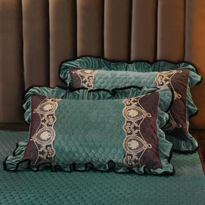 2019新款摩纳歌--水晶绒夹棉单枕套 48cmX74cm(枕套/对) 松石绿