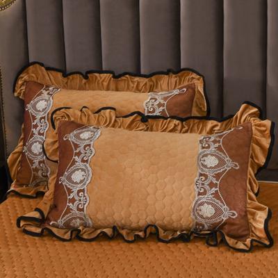 2019新款摩纳歌--水晶绒夹棉单枕套 48cmX74cm(枕套/对) 驼色