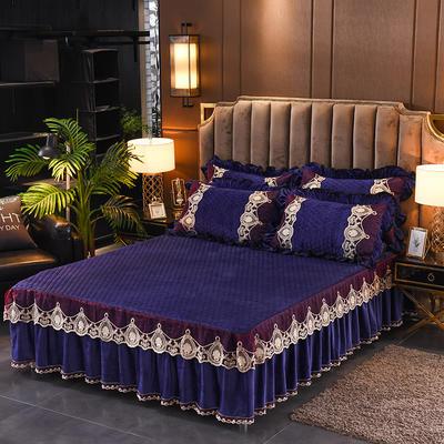 2019新款摩纳歌--水晶绒夹棉单床裙 120cmx200cm 宝石蓝