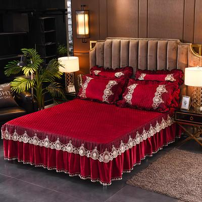 2019新款摩纳歌--水晶绒夹棉单床裙 150cmx200cm 法鲁红--酒红