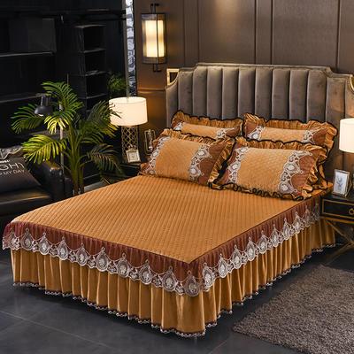 2019新款摩纳歌--水晶绒夹棉单床裙 150cmx200cm 驼色