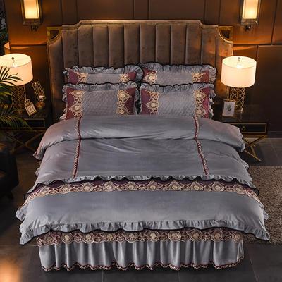 2019新款摩纳歌--水晶绒夹棉床裙四件套 1.5m(床裙款四件套) 典雅 灰