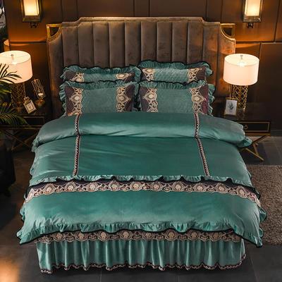 2019新款摩纳歌--水晶绒夹棉床裙四件套 1.5m(床裙款四件套) 松石绿