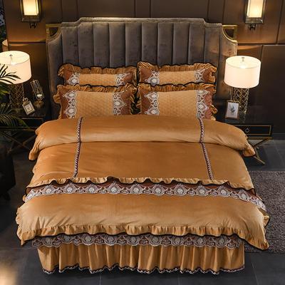 2019新款摩纳歌--水晶绒夹棉床裙四件套 1.5m(床裙款四件套) 驼色