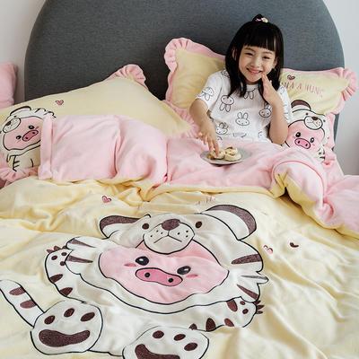 2019新款牛奶绒大版绣花四件套 1.2m床单款 虎虎猪