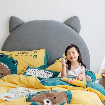 2019新款牛奶绒大版绣花四件套 1.2m床单款 恐龙熊