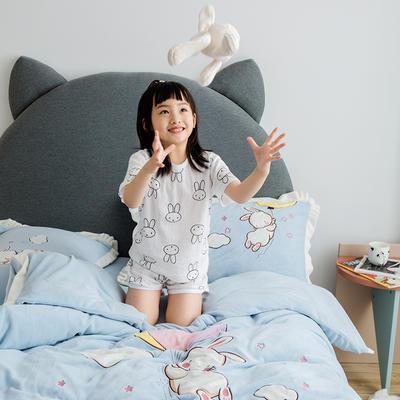 2019新款牛奶绒大版绣花四件套 1.2m床单款 气球兔