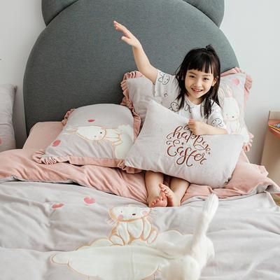 2019新款牛奶绒大版绣花四件套 1.2m床单款 云朵兔