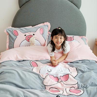 2019新款牛奶绒大版绣花四件套 1.2m床单款 猪猪兔