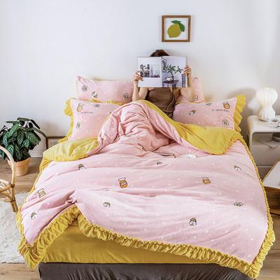 2019新款牛奶绒四件套 1.5m床单款 蜜罐 樱花粉