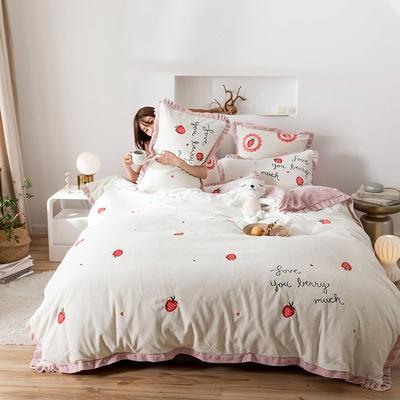 2019新款牛奶绒四件套 1.5m床单款 奶油草莓 白
