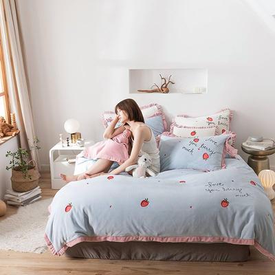 2019新款牛奶绒四件套 1.5m床单款 奶油草莓 婴儿蓝