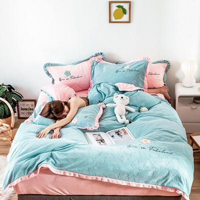 2019新款牛奶绒四件套 1.5m床单款 泫雅爱心 青春蓝