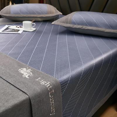 2021新款凉席冰藤席软席空调席系列 1.8*2.0m三件套 冰藤席-贵族蓝