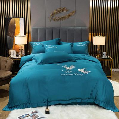 2021新款-80S贡缎天丝轻奢刺绣四件套 2.0m床单款四件套 爱的旋律-宝石蓝