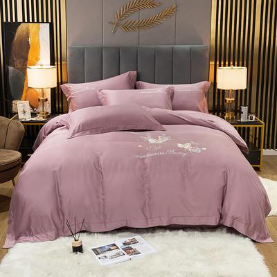 2021新款-80S贡缎天丝轻奢刺绣四件套 2.0m床单款四件套 爱的旋律-丁香紫