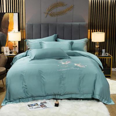2021新款-80S贡缎天丝轻奢刺绣四件套 2.0m床单款四件套 爱的旋律-海洋蓝