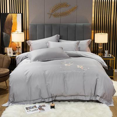 2021新款-80S贡缎天丝轻奢刺绣四件套 2.0m床单款四件套 爱的旋律-灰