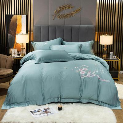 2021新款-80S贡缎天丝轻奢刺绣四件套 2.0m床单款四件套 牡丹花开-海洋蓝