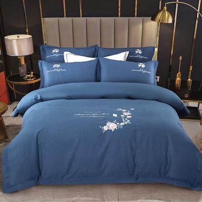 2021新款全棉磨毛刺绣四件套--泊翠澜境 1.8m床单款四件套 泊翠澜境-梵星蓝