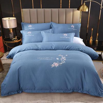 2021新款全棉磨毛刺绣四件套--泊翠澜境 1.5m床单款四件套 泊翠澜境-牛仔蓝
