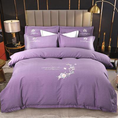2021新款全棉磨毛刺绣四件套--泊翠澜境 1.8m床单款四件套 泊翠澜境-蓝莲紫