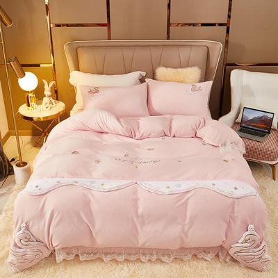 2021新款高克重公主风宝宝绒大版贴布绣床单被套四件套 1.5m床单款四件套 洛世奇