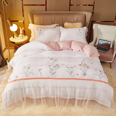 2021新款高克重公主风宝宝绒大版贴布绣床单被套四件套 1.5m床单款四件套 艾丽莎