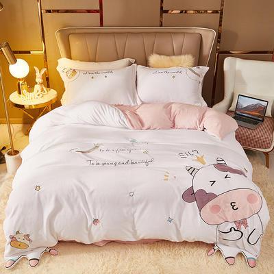 2021新款高克重公主风宝宝绒大版贴布绣床单被套四件套 1.5m床单款四件套 卡鲁宾