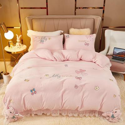 2021新款高克重公主风宝宝绒大版贴布绣床单被套四件套 1.5m床单款四件套 乐迪象