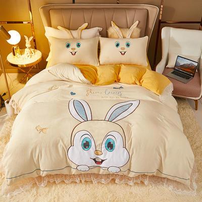 2021新款高克重公主风宝宝绒大版贴布绣床单被套四件套 1.5m床单款四件套 星黛露