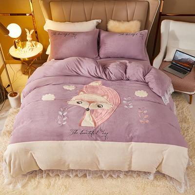 2021新款高克重公主风宝宝绒大版贴布绣床单被套四件套 1.5m床单款四件套 紫霞