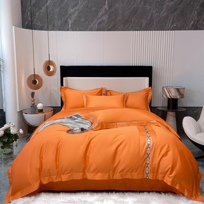2021新款80支长绒棉四件套系列-克拉 1.8m床单款四件套 爱马橙