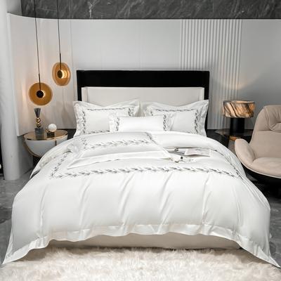 2021新款100支长绒棉四件套系列-洛卡琳 1.8m床单款四件套 贵族白