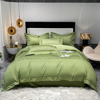 2021新款100支长绒棉四件套系列-洛卡琳 1.8m床单款四件套 抹茶绿