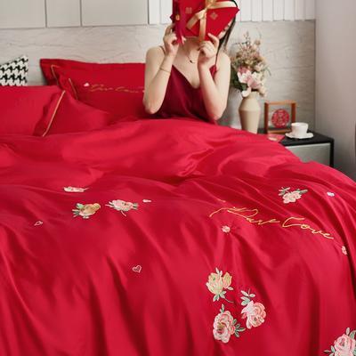 2021新款精梳全棉刺绣大红色婚庆四件套系列 1.5m床单款四件套 春花秋月